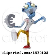 Poster, Art Print Of 3d Blue Zombie Holding A Euro On A White Background