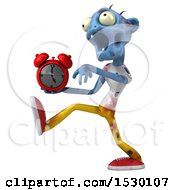 Clipart Of A 3d Blue Zombie Holding An Alarm Clock On A White Background Royalty Free Illustration