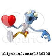 Poster, Art Print Of 3d Blue Zombie Holding A Heart On A White Background