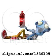 Clipart Of A 3d Blue Zombie Holding A Soda On A White Background Royalty Free Illustration