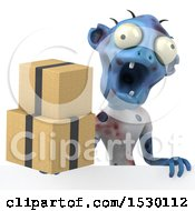Clipart Of A 3d Blue Zombie Holding Boxes On A White Background Royalty Free Illustration