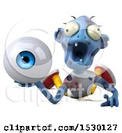 Clipart Of A 3d Blue Zombie Holding An Eye On A White Background Royalty Free Illustration by Julos