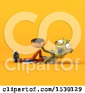 Clipart Of A 3d Zombie Holding A Donut On A Yellow Background Royalty Free Illustration by Julos