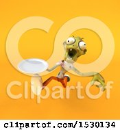 Clipart Of A 3d Zombie Holding A Plate On A Yellow Background Royalty Free Illustration by Julos