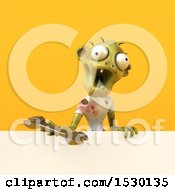 Clipart Of A 3d Zombie Holding A Wrench On A Yellow Background Royalty Free Illustration by Julos