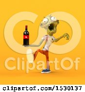 Clipart Of A 3d Zombie Holding Wine On A Yellow Background Royalty Free Illustration by Julos