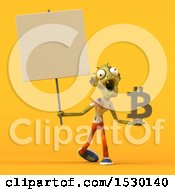 Clipart Of A 3d Zombie Holding A Bitcoin Symbol On A Yellow Background Royalty Free Illustration by Julos