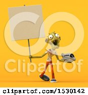 Poster, Art Print Of 3d Zombie Holding A Plane On A Yellow Background