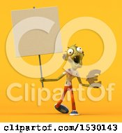Clipart Of A 3d Zombie Holding A Euro On A Yellow Background Royalty Free Illustration by Julos