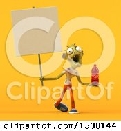 Poster, Art Print Of 3d Zombie Holding A Soda On A Yellow Background