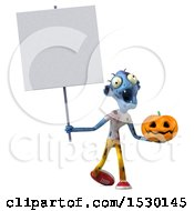 Clipart Of A 3d Blue Zombie Holding A Halloween Jackolantern Pumpkin On A White Background Royalty Free Illustration by Julos