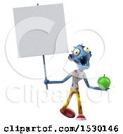 Clipart Of A 3d Blue Zombie Holding An Apple On A White Background Royalty Free Illustration by Julos