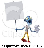 Clipart Of A 3d Blue Zombie Holding A Bitcoin Symbol On A White Background Royalty Free Illustration by Julos