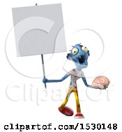 Clipart Of A 3d Blue Zombie Holding A Brain On A White Background Royalty Free Illustration by Julos