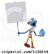 Clipart Of A 3d Blue Zombie Holding A Water Drop On A White Background Royalty Free Illustration by Julos