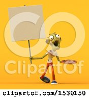 Clipart Of A 3d Zombie Holding A Pizza On A Yellow Background Royalty Free Illustration by Julos