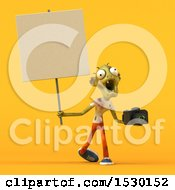Clipart Of A 3d Zombie Holding A Camera On A Yellow Background Royalty Free Illustration by Julos