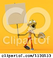 Clipart Of A 3d Zombie Holding A Cloud On A Yellow Background Royalty Free Illustration by Julos