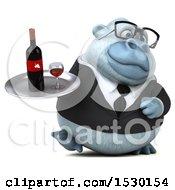 3d White Business Monkey Yeti Holding Wine On A White Background