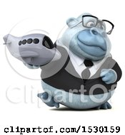 Poster, Art Print Of 3d White Business Monkey Yeti Holding A Plane On A White Background
