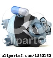 3d White Business Monkey Yeti Holding A Pill On A White Background