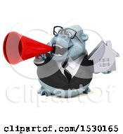 3d White Business Monkey Yeti Holding A House On A White Background