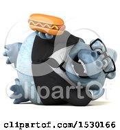 3d White Business Monkey Yeti Holding A Hot Dog On A White Background