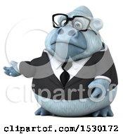 3d White Business Monkey Yeti Presenting On A White Background
