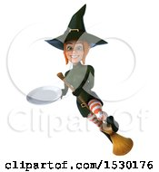 Clipart Of A 3d Sexy Green Witch Holding A Plate On A White Background Royalty Free Illustration