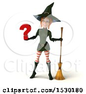 Clipart Of A 3d Sexy Green Witch Holding A Question Mark On A White Background Royalty Free Illustration