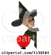Poster, Art Print Of 3d Sexy Green Witch Holding A Heart On A White Background