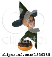 Clipart Of A 3d Sexy Green Witch Holding A Donut On A White Background Royalty Free Illustration