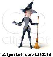 Clipart Of A 3d Sexy Blue Witch Holding A Wrench On A White Background Royalty Free Illustration