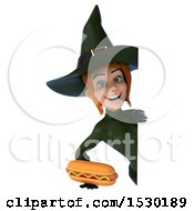 Clipart Of A 3d Sexy Green Witch Holding A Hot Dog On A White Background Royalty Free Illustration