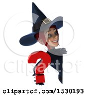 Clipart Of A 3d Sexy Blue Witch Holding A Question Mark On A White Background Royalty Free Illustration