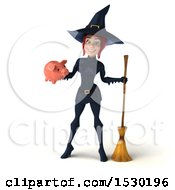 Poster, Art Print Of 3d Sexy Blue Witch Holding A Piggy Bank On A White Background