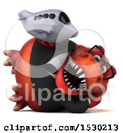 Clipart Of A 3d Red Business T Rex Dinosaur Holding A Plane On A White Background Royalty Free Illustration