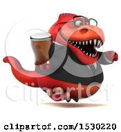 Poster, Art Print Of 3d Red Business T Rex Dinosaur Holding A Beer On A White Background