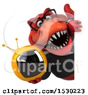 Poster, Art Print Of 3d Red Business T Rex Dinosaur Holding A Tv On A White Background