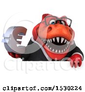 Poster, Art Print Of 3d Red Business T Rex Dinosaur Holding A Euro On A White Background