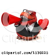 Poster, Art Print Of 3d Red Business T Rex Dinosaur Holding A Heart On A White Background