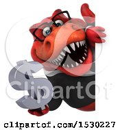 Poster, Art Print Of 3d Red Business T Rex Dinosaur Holding A Dollar Sign On A White Background