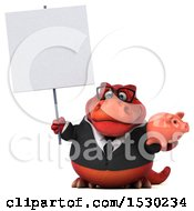 Poster, Art Print Of 3d Red Business T Rex Dinosaur Holding A Piggy Bank On A White Background
