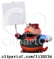 3d Red Business T Rex Dinosaur Holding A Pill On A White Background