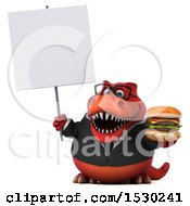 3d Red Business T Rex Dinosaur Holding A Burger On A White Background