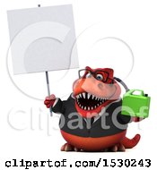 3d Red Business T Rex Dinosaur Holding A Gas Can On A White Background