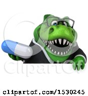 3d Green Business T Rex Dinosaur Holding A Pill On A White Background