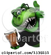 Poster, Art Print Of 3d Green Business T Rex Dinosaur Holding A Beer On A White Background