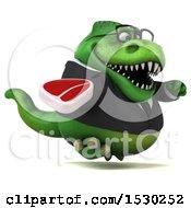 3d Green Business T Rex Dinosaur Holding A Steak On A White Background