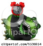 3d Green Business T Rex Dinosaur Holding An Alarm Clock On A White Background
